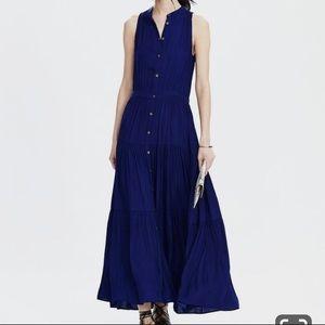 Banana Republic Blue Silk Like Midi/Maxi Dress 2P
